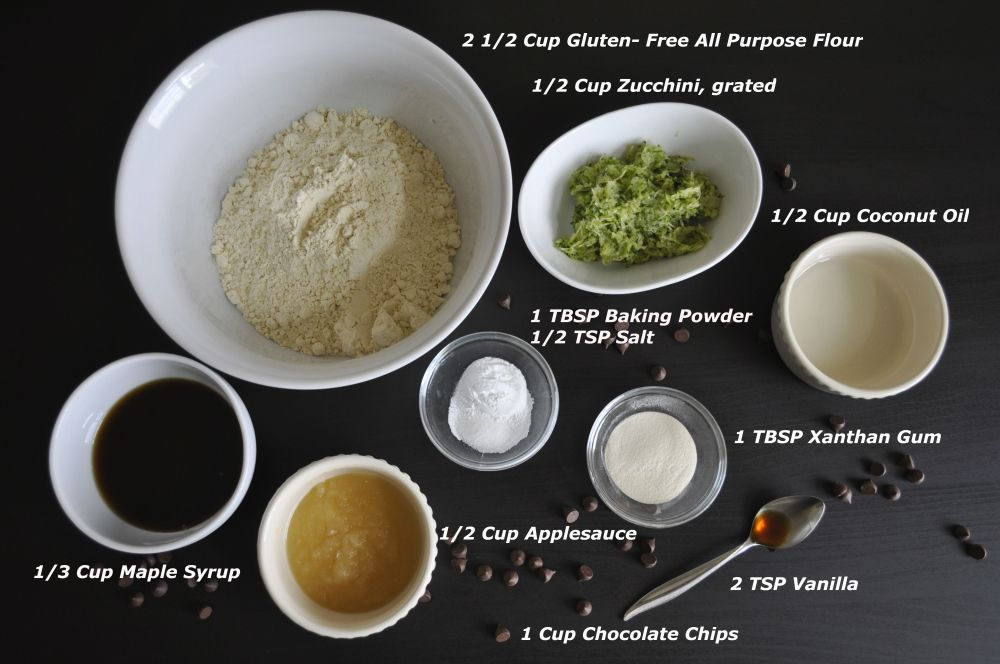 Chocolate Chip Zucchini Bread- Ingredients
