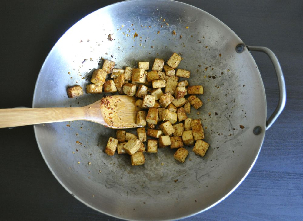 Thai Basil Tofu Stir fry - pan fried tofu